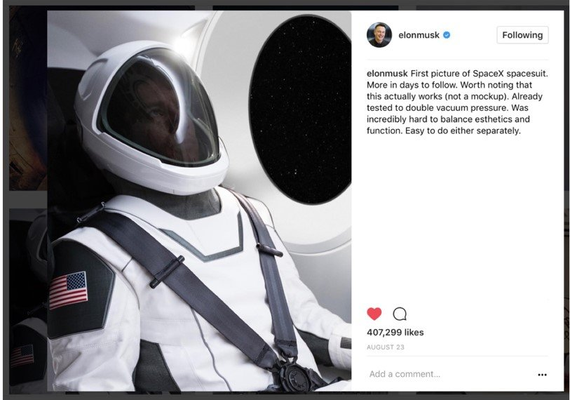 Fashionable spacesuit by SpaceX